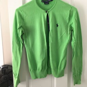 Bright Green Ralph Lauren Cardigan - Size Small